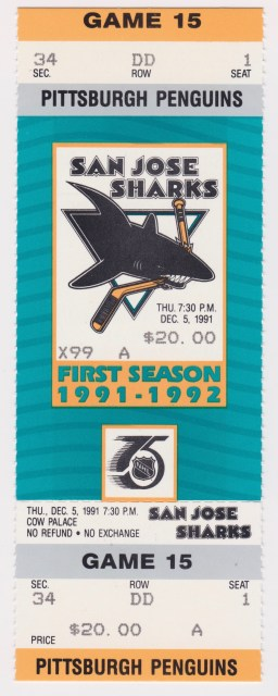 1991 San Jose Sharks ticket stub vs Penguins