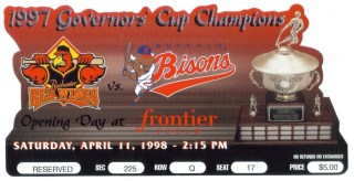 1997 Rochester Red Wings die cut ticket stub vs Buffalo Bisons 2