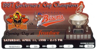 1997 Rochester Red Wings die cut ticket stub vs Buffalo Bisons
