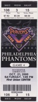 2000 AHL Philadelphia Phantoms ticket stub vs Rochester