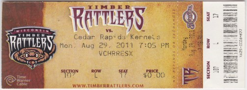 2011 Wisconsin Timber Rattlers ticket stub vs Cedar Rapids