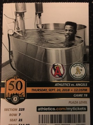 2018 MLB Angels at Athletics ticket stub 27