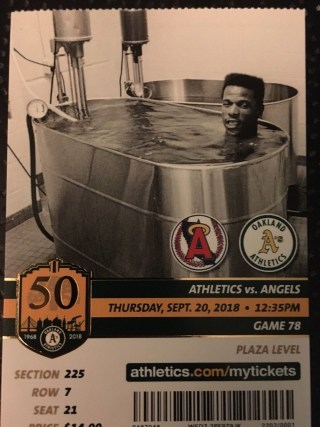 2018 MLB Angels at Athletics ticket stub