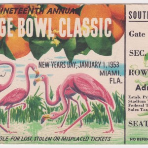1953 Orange Bowl ticket stub Alabama vs Syracuse 1/1/1953