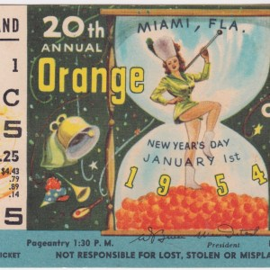 1954 Orange Bowl ticket stub Oklahoma vs Maryland 1/1/1954