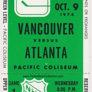 1974 Vancouver Canucks ticket stub vs Atlanta Flames 10/9/1974
