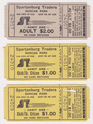 1981 Spartanburg Traders ticket stub lot of 3 15
