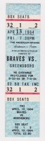 1984 Anderson Braves ticket stub vs Greensboro
