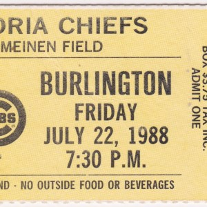 1988 Peoria Chiefs ticket stub vs Burlington Braves 7/22/1988