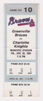 1991 Greenville Braves ticket stub vs Charlotte Knights