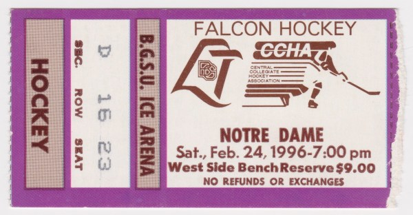 1996 NCAAMH Bowling Green vs Notre Dame 2/24/1996