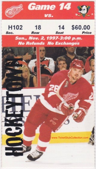 1997 NHL Anaheim Mighty Ducks at Detroit Red Wings ticket stub