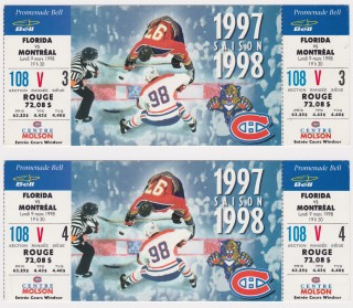 1998 Montreal Canadiens ticket stubs vs Panthers