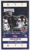 2002 Manchester Monarchs Opening Night ticket stub vs Lowell