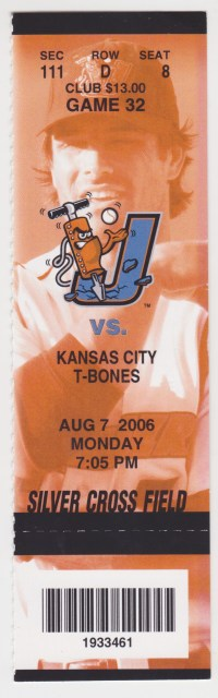 2006 Joliet Jackhammers ticket stub vs Kansas City T-Bones