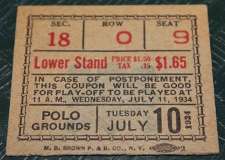 1934 All Star Game Polo Grounds Ticket Stub 3500