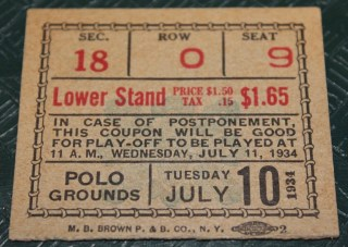 1934 All Star Game Polo Grounds Ticket Stub