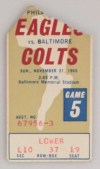 1965 NFL Baltimore Colts ticket stub vs Philadelphia