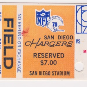 1970 San Diego Chargers ticket stub vs Bears