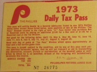 1973 Phillies Daily Tax Pass