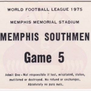 1975 Memphis Southmen ticket stub vs Shreveport