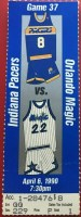 1990 Orlando Magic ticket stub vs Indiana Pacers