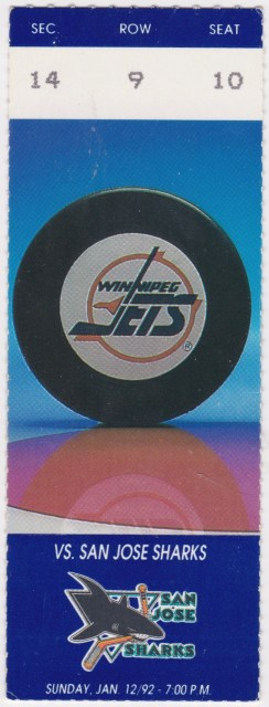 1992 Winnipeg Jets ticket stub vs Sharks