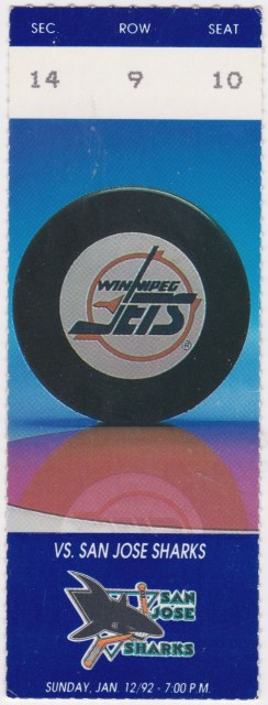 1992 Winnipeg Jets ticket stub vs San Jose Sharks