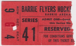 Barrie Flyers ticket stub