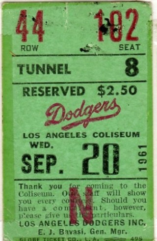 1961 Los Angeles Dodgers ticket stub vs Cubs