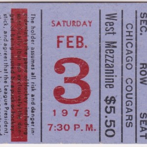 1973 WHA Chicago Cougars ticket stub vs NY Raiders for sale