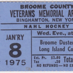 1975 NAHL Broome Dusters ticket stub vs Long Island Cougars for sale