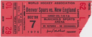 1975 WHA Denver Spurs ticket stub vs Whalers