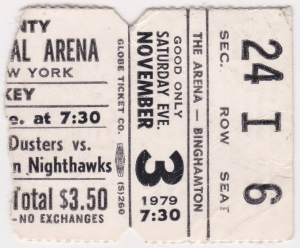 1979 AHL Binghamton Whalers ticket stub vs New Haven for sale
