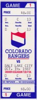1987 IHL Colorado Rangers Opening Night ticket stub vs Salt Lake