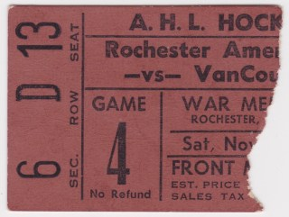 1960s Rochester Americans ticket stub vs Vancouver Canucks