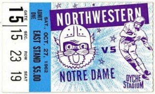 1962 NCAAF Northwestern ticket stub vs Notre Dame