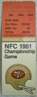 1982 NFC Championship Game Ticket Stub The Catch