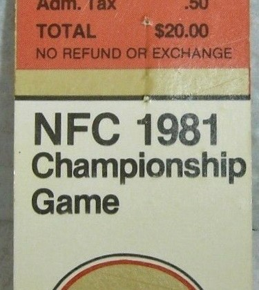1981 NFC Championship Ticket Stub The Catch