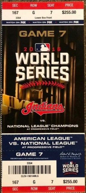 2016 World Series Game 7 ticket stub Indians vs Cubs
