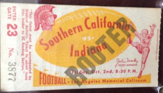 1953 NCAAF USC ticket stub vs Indiana