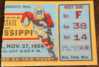 1954 NCAAF Ole Miss ticket stub vs Mississippi State