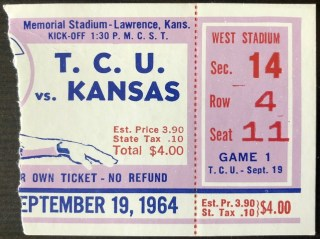 1964 NCAAF Kansas Jayhawks ticket stub vs TCU
