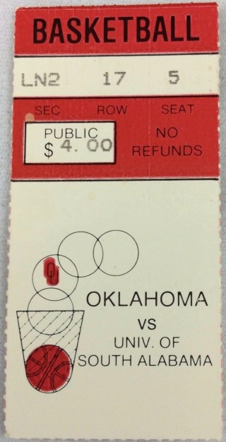 1982 NCAAMB Oklahoma Sooners ticket stub vs South Alabama