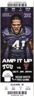 2014 NCAAF TCU Horned Frogs ticket stub vs Texas Tech