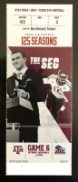 2019 NCAAF Texas A&M Aggies ticket stub vs UTSA