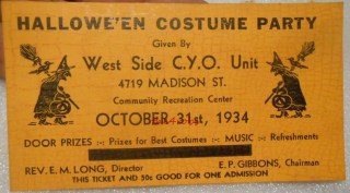 1934 CYO Chicago Halloween Party Ticket Stub