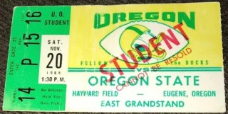 1965 NCAAF Oregon football ticket stub vs Oregon State