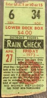 1973 Steve Busby No Hitter ticket stub