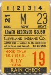 1974 Dick Bosman No Hitter ticket stub